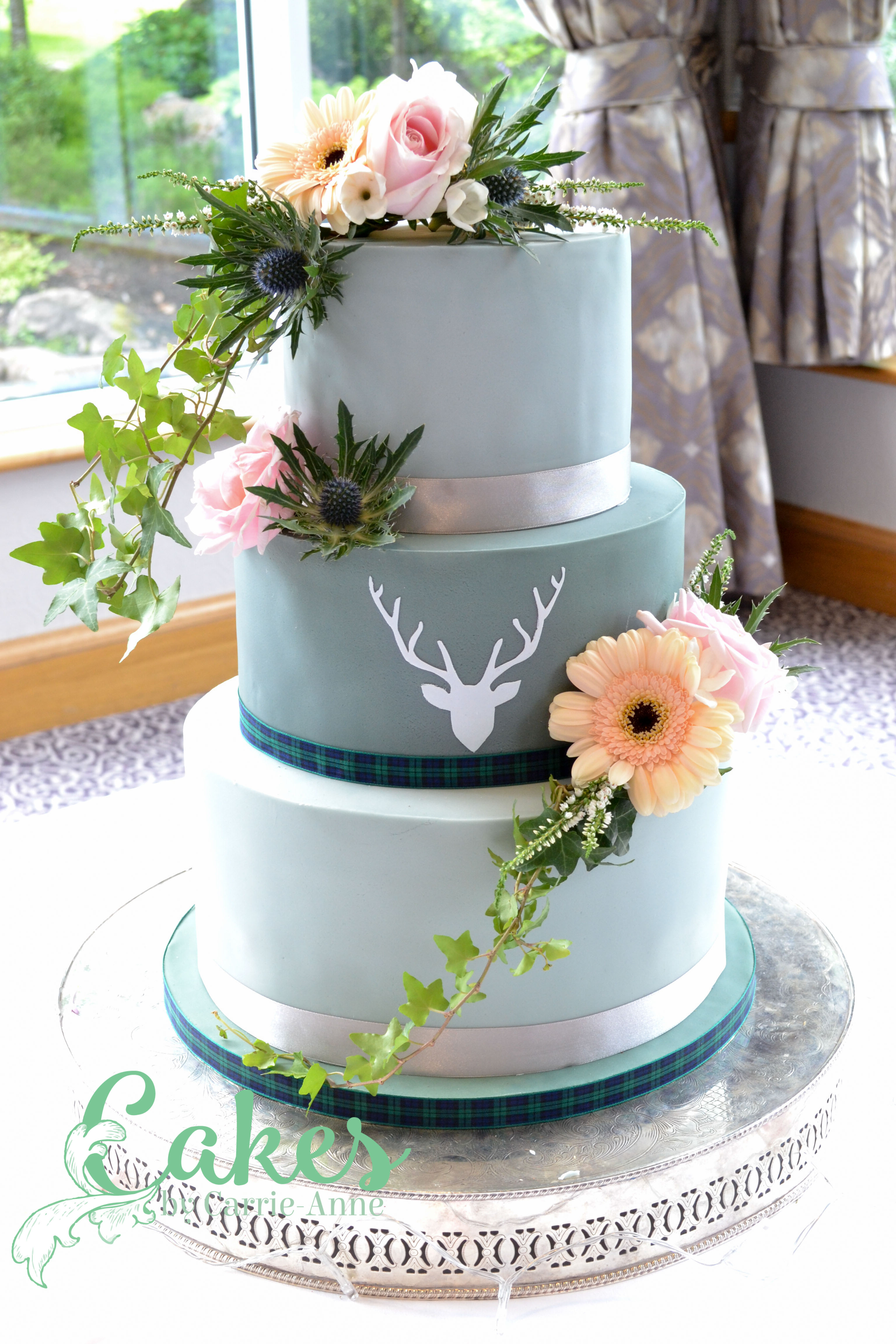 Grey Stag Silhouette Wedding Cake Cakes By Carrie Anne