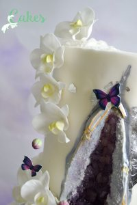 Silver and Purple Geode Wedding cake with Orchids and Butterflies