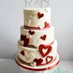 Red and Ivory Heart Cutout Wedding cake Diamante Monogram