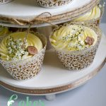 Vintage Button Buttercream Wedding Cupcake Tower